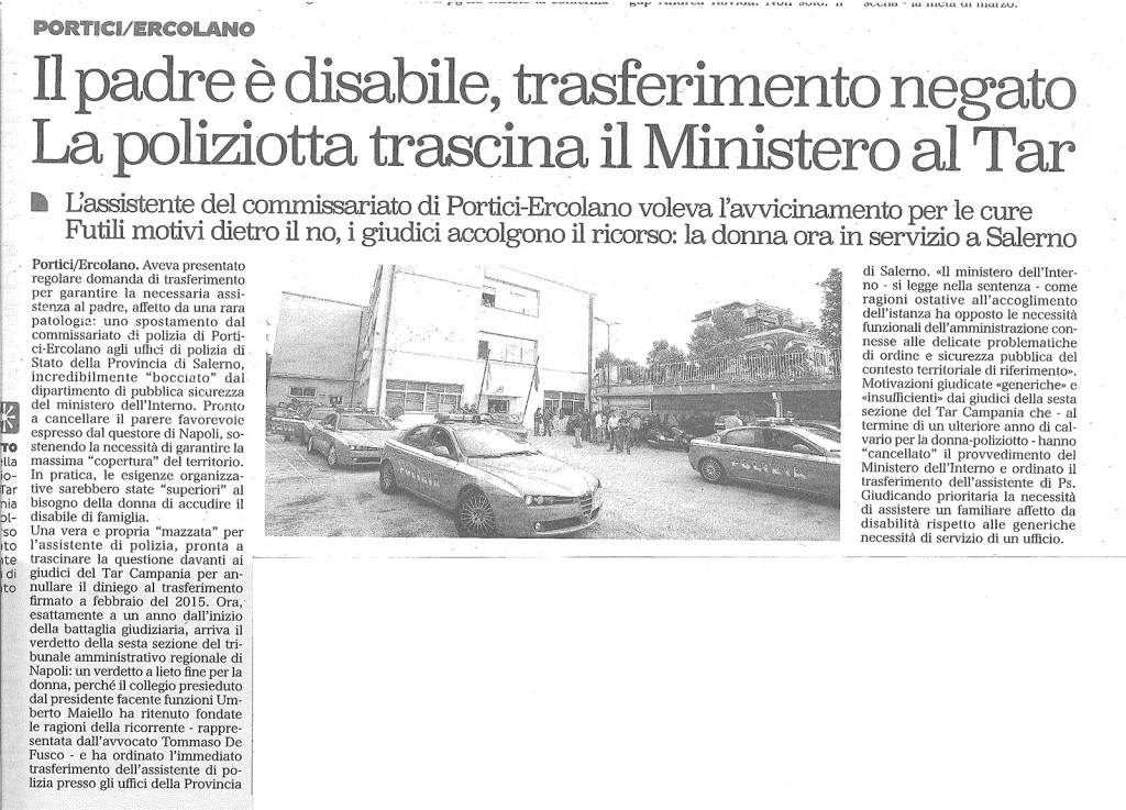 """Articolo: """"Il padre disabile, trasferimento negato. La poliziotta trascina il Ministero al Tar"""""""